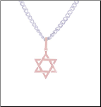 "22"" Italian Rose Gold Stainless Steel Star of David Pendant & Chain"