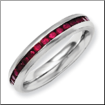 4mm Stainless Steel January Birthstone Ring with Dark Red CZs