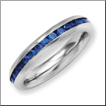 4mm Stainless Steel September (Sapphire CZ) Blue CZ Birthstone Ring