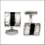 Stainless Steel, Onyx and Mother of Pearl Cuff Links