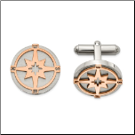 Brushed Stainless Steel and Ip Rose Gold Compass Cuff Links