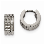 Chisel Stainless Steel Pyramid Studded Huggie Earrings