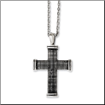 "24"" Antiqued Stainless Steel Cross Pendant and Chain"