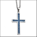 "22"" Chisel Stainless Steel and Blue Carbon Fiber Cross and Chain"