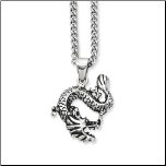 "Chisel Stainless Steel Dragon Pendant and 22"" Chain"