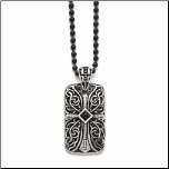 Antiqued Stainless Steel Dog Tag Pendant From Inox