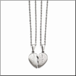 "18"" Stainless Steel Half Heart Mother/Daughter Pendant Necklace"