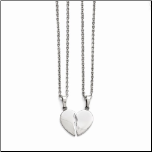 "20"" Stainless Steel Couples 2 Piece Heart Pendant Necklace"