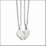 "20"" Stainless Steel &Crystal 1/2 Heart Pendant Couples Necklace Set"