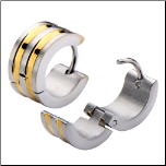 7mm Inox Stainless Steel and Ip Gold Stripe Huggie Earrings