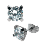 8 mm 4 Prong Stainless Steel CZ Earrings in 2 Sizes from Inox