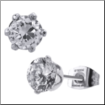 Inox 6 Prong Stainless Steel Post Back CZ Stud Earrings in 6 Sizes