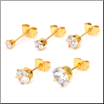 Inox Ip Gold Stainless Steel CZ Stud Earrings in 5 Sizes