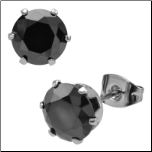 Inox Six Prong Stainless Steel Black CZ Stud Earrings in 3 Sizes