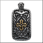 Antiqued Stainless Steel and PVD Gold Iron Cross Pendant