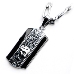 "24"" Inox Stainless Steel Oxidized&Black Skull Dog Tag and Chain"