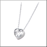 "16+2"" Inox Stainless Steel CZ Heart Shaped Pendant and Chain"