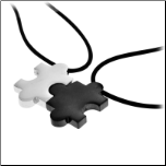 Inox Matching Couples Stainless Steel 2 Piece Pendant Set