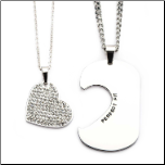 Inox Stainless Steel His & Hers CZ Heart and Dog Tag Pendant Set
