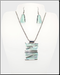 Aqua Resin on Silver Necklace and Earring Set