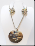 Abalone and Resin Set with Silver Swirls and Blue CZS
