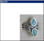 Designer Sterling Silver and Frame Set 5 Stone Larimar Ring