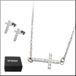 Inox Stainless Steel and CZ Cross Necklace and Earring Set