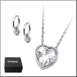 Inox Stainless Steel and Heart Shaped CZ Necklace and Earring Set