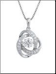 "16+2"" Sterling Silver ""Dancing Stone"" CZ Necklace"