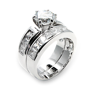 Sterling Silver Wedding Ring Sets